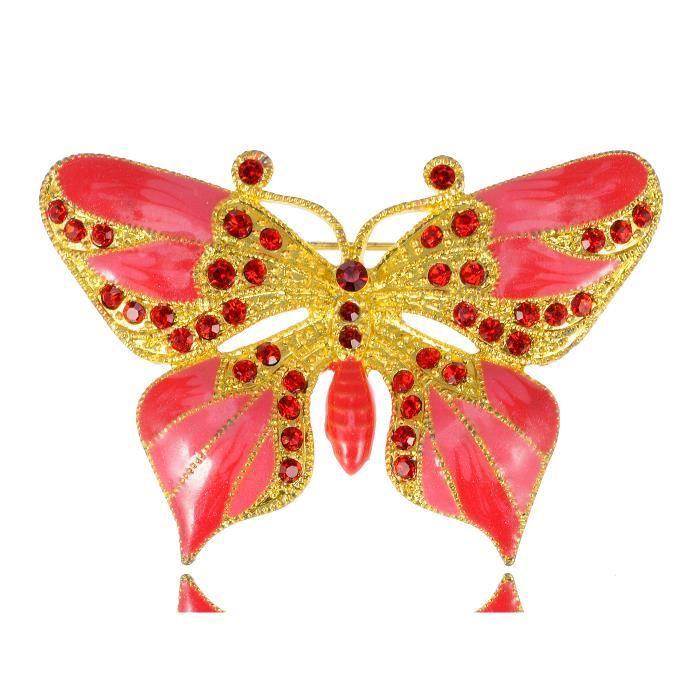 Enchanting jacinthe Doré rose Broche en forme de Papillon avec cristal et strass