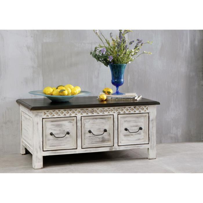 Table Basse 100x60cm Bois Massif De Manguier Cire Blanc Antique
