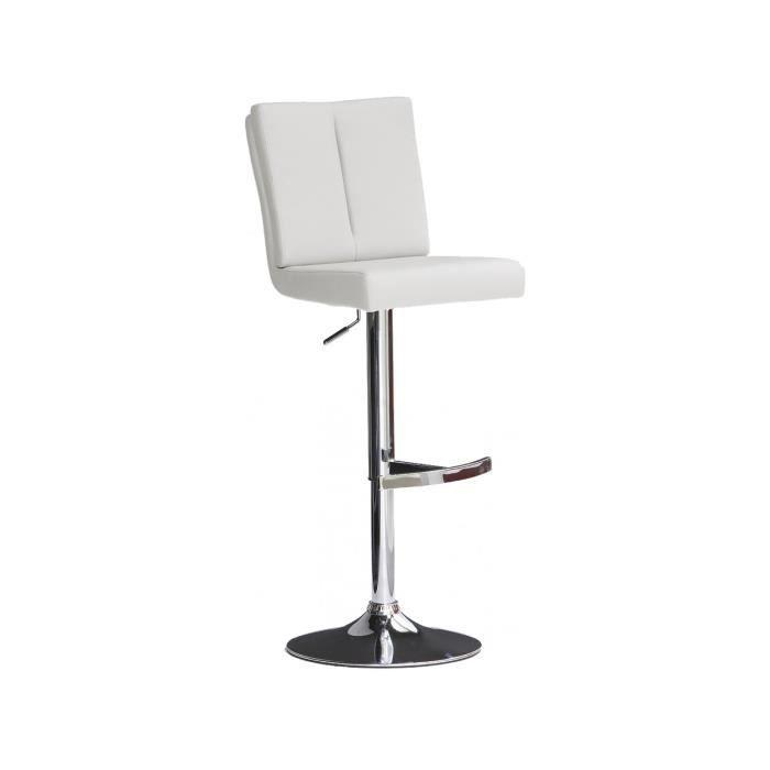 e246cce8171f30 Tabouret de bar blanc design en polyester avec piètement rond en acier  chromé