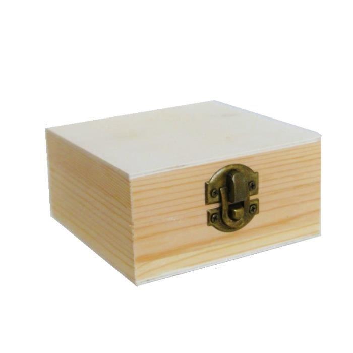 Boîte à Bijoux En Bois Naturel Pour Diy Bricolage à Décorer 10cm