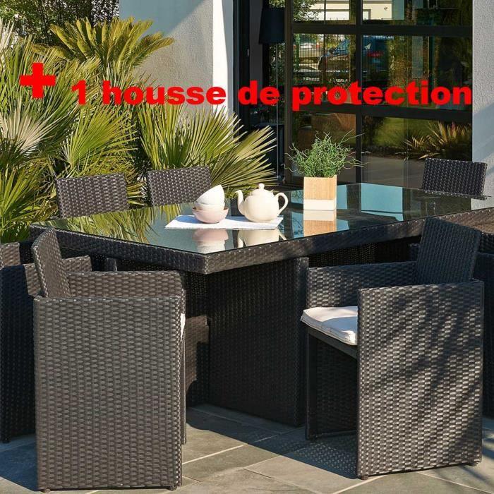 Salon de jardin résine tressée avec 8 fauteuils encastrables NOIR ...