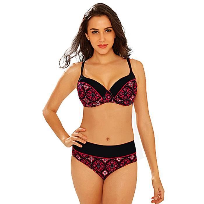 Armatures Maillot Rouge De 2 Bain Grande Bikini Pièce Femme Taille wfUp8q7w