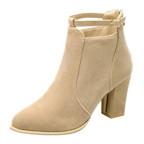 Dames Bottes Chaussures Talons Femmes Hauts Beige Bottines Martin Boucle Faux Ceinture Chaud 0Xw8PnOk