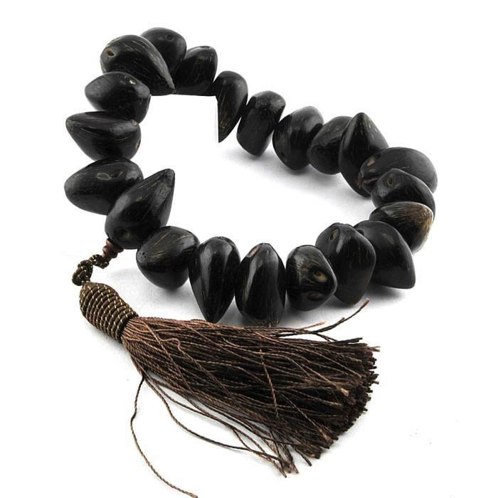 Bracelet charms et perle Bijou Graines protection maison voiture 18x27mm Femme Marron Graines Olle