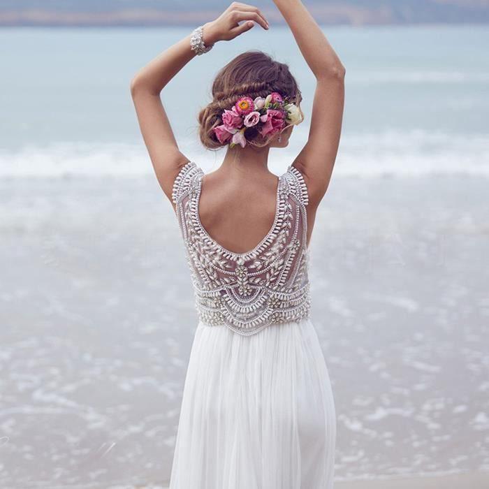 Robe de mariée longue de plage bohême col rond sans manches Robe Blanche de soirée perle tulle strass Grand Taille simple