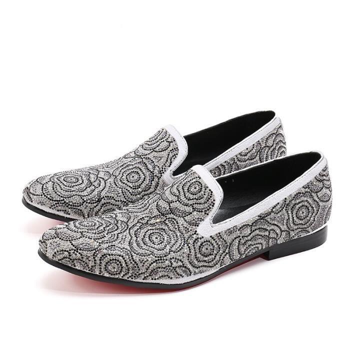 2017 Nouveau style à la main des hommes chaussures de velours avec strass de luxe floral de bal et de banquet Slipper Men Mocassins