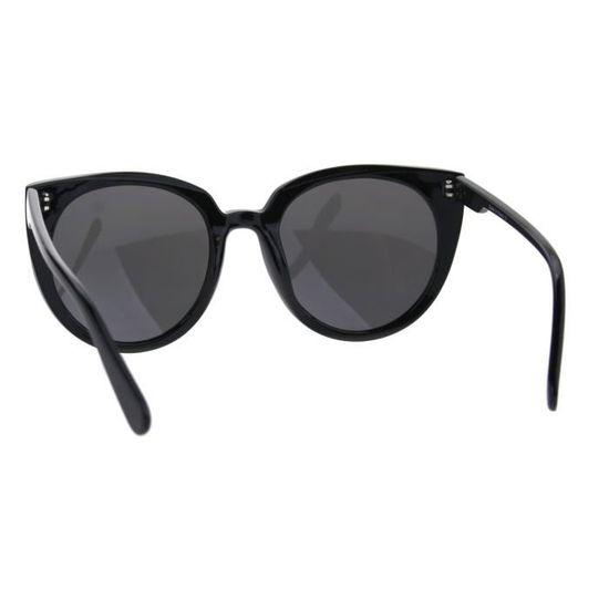 5c9df95886 Lunettes de soleil rondes oversize pour femmes, yeux de chat, lunettes de  soleil tout noir 1HQ60F - Achat / Vente lunettes de soleil Femme - Soldes*  dès le ...
