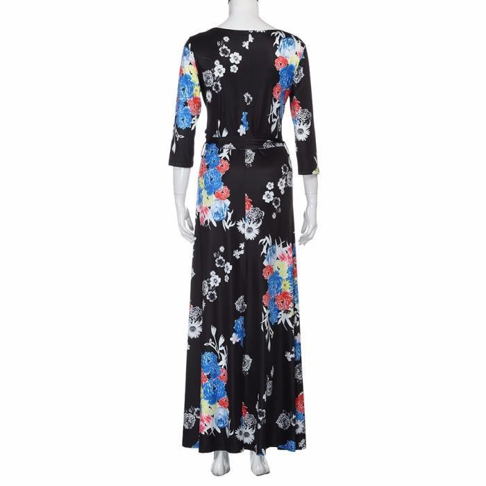 Pachasky®Femmes sexy V cou Beach Party floral imprimer 3-4 manches ceinture Bohème robe longue#NYZ09140350
