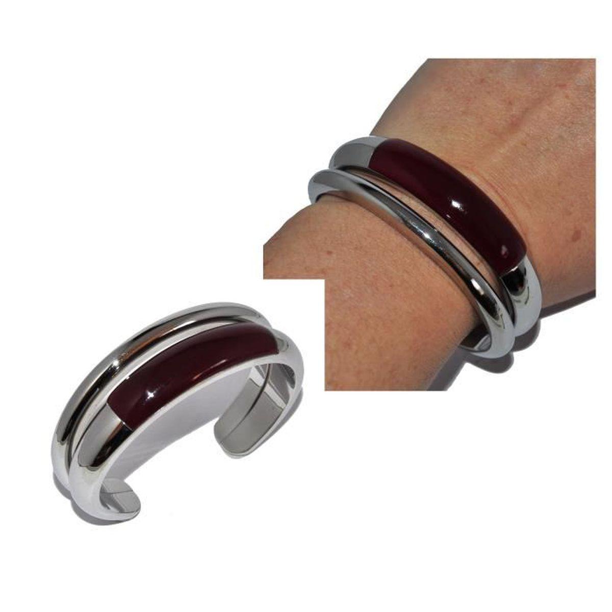 a67fe2da806 BRACELET - GOURMETTE CALVIN KLEIN Bracelet jonc manchette en acier et r