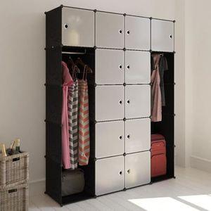 ARMOIRE DE CHAMBRE Cabinet modulable 14 compartiments 37*146*180,5 cm