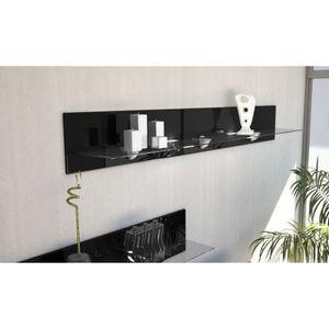 ETAGÈRE MURALE Etagère en bois et verre noir avec led 146 cm