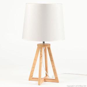 LAMPE A POSER Lampe Poser Pied Croix En Bois Avec Abat Jour