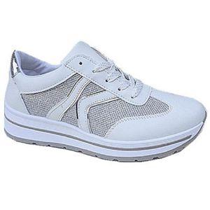 Fashionfolie888 - Basket compensées montante dentelle femme chaussure fille lacet strass mode 6808 GRIS K9fXrgv7