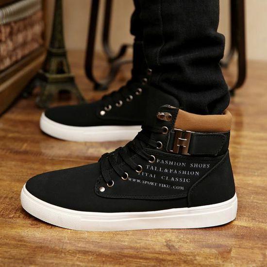 Mode casual haut-dessus des chaussures pour hom...  Noir - Achat / Vente basket