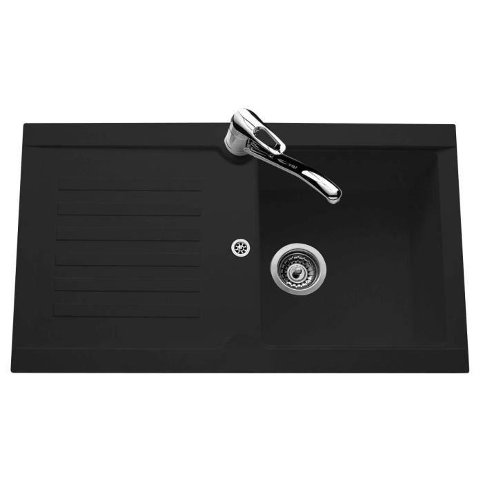1 bac - En résine SMC - Noir - Dimensions : 86x50 cm - Vidage manuel - Réversible - Entretien facile.EVIER DE CUISINE