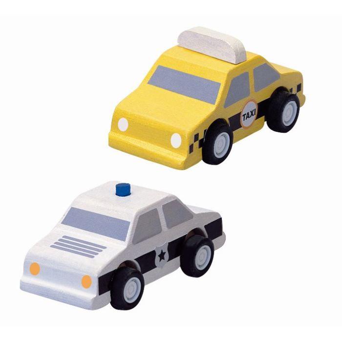 PLAN TOYS Jeu en bois Taxi et Voiture de Police