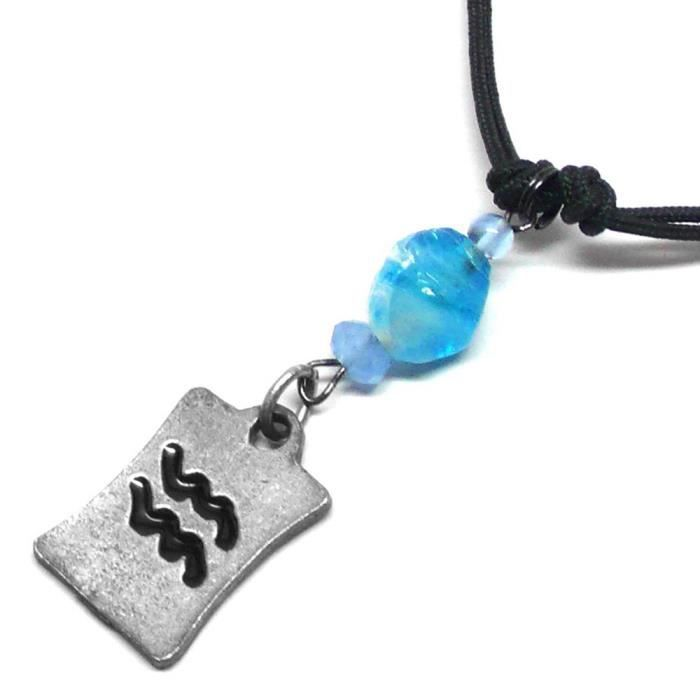 Womens Aquarius Pewter Charm Blue Glass Necklace 23 Inches ZRGWY
