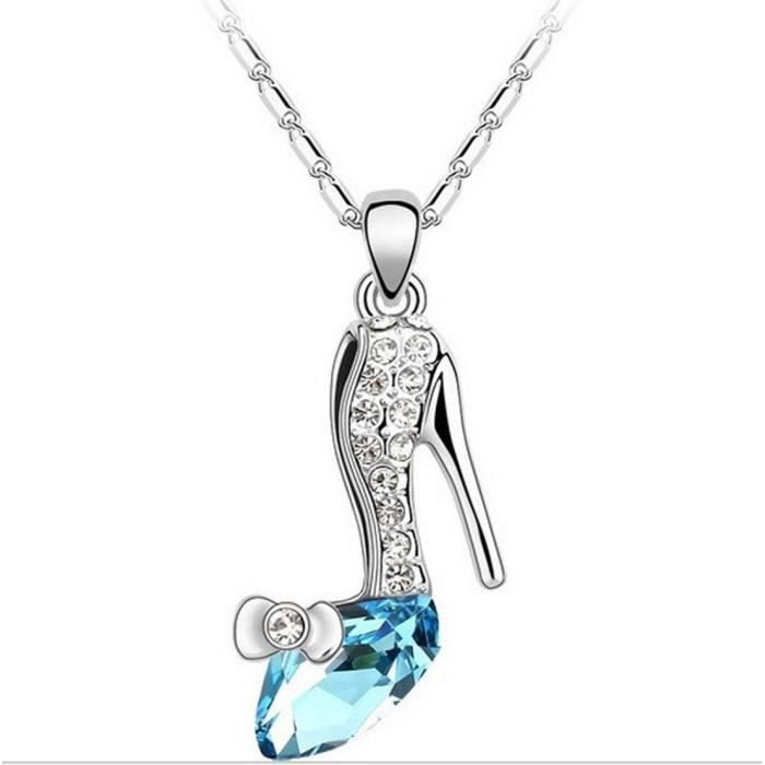 Womens Shining Diva White Gold Plated High-heeled Shoes Necklace ForLXS51