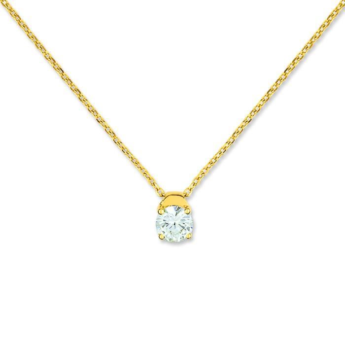 Collier Brillaxis solitaire griffes or jaune