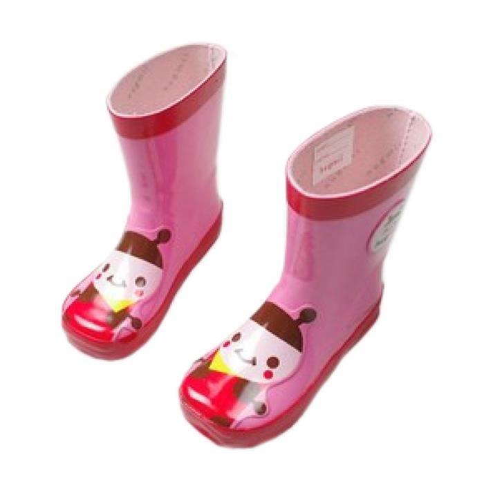 Mode bottes de pluie / enfant botte de pluie, abeille rose / 18 cm