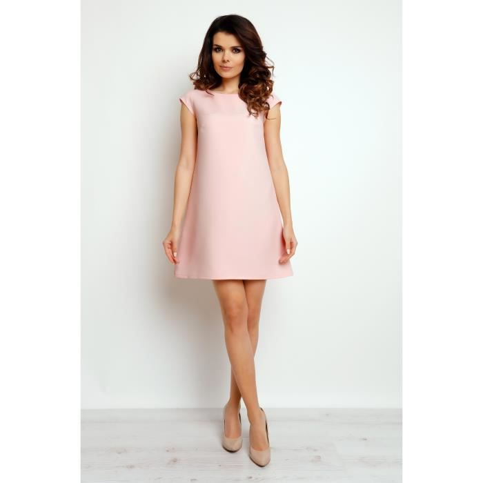 f5687fc6795 TRES JOLIE ROBE ROSE POUDRE MANCHES COURTES M074 INFINITE YOU FEMME TAILLE  38