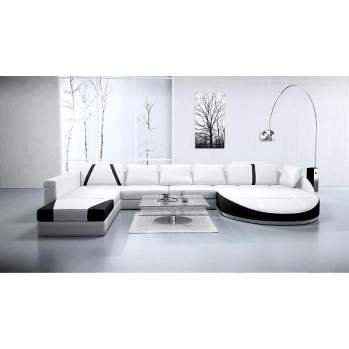 canap d 39 angle cuir panoramique noir et blanc achat vente canap sofa divan cuir bois. Black Bedroom Furniture Sets. Home Design Ideas