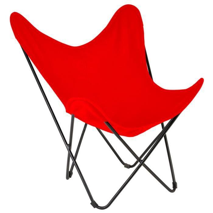 fauteuil papillon m tal et toile coton achat vente fauteuil jardin fauteuil papillon m tal. Black Bedroom Furniture Sets. Home Design Ideas