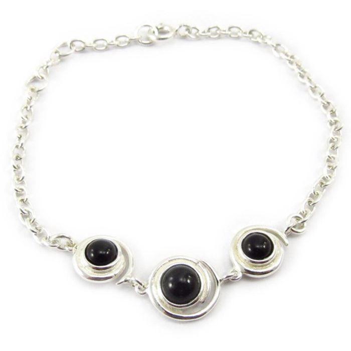 Bracelet Argent Déesse Noir de Jais