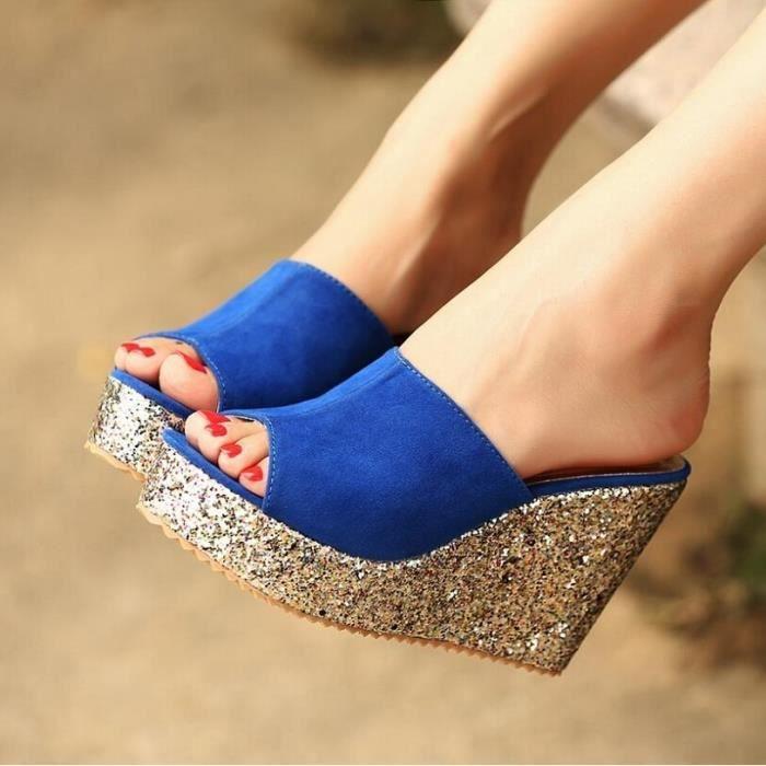 Paillettes talon haut Chaussures Chaussons été ...