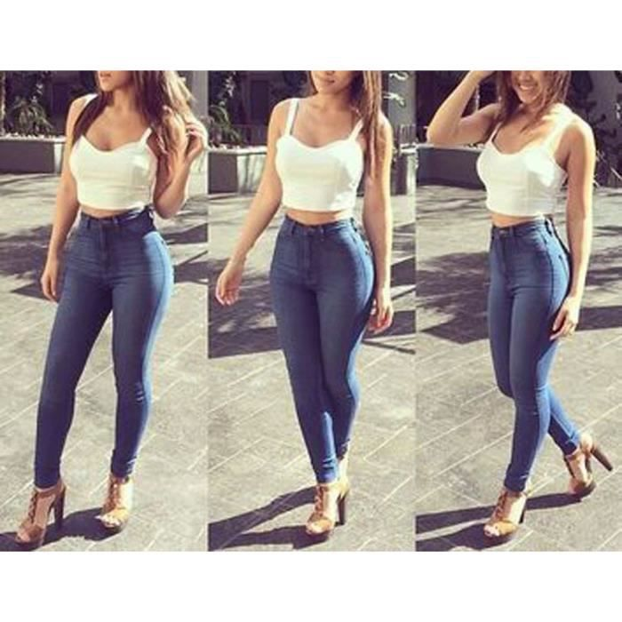 Jeans femme taille haute stretch