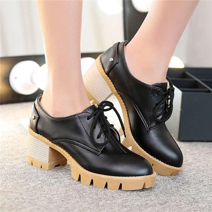 Chaussures Femme En PU Cuir Ronde élégante Lacets Plateforme Toutes les pointures de la 35 à la 43