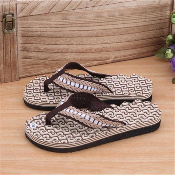 Femmes Stripe Pantoufles de bain plates pantoufles d'été intérieur et extérieur pantoufles @YLL71213527HOT RVKsen