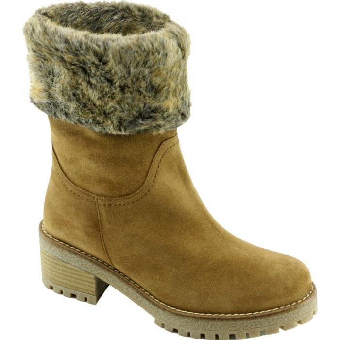HIBILI - Bottines fourrées à grosses semelles crantées marque Angelina chaussures Femme fabriquée en Espagne cuir velours beige