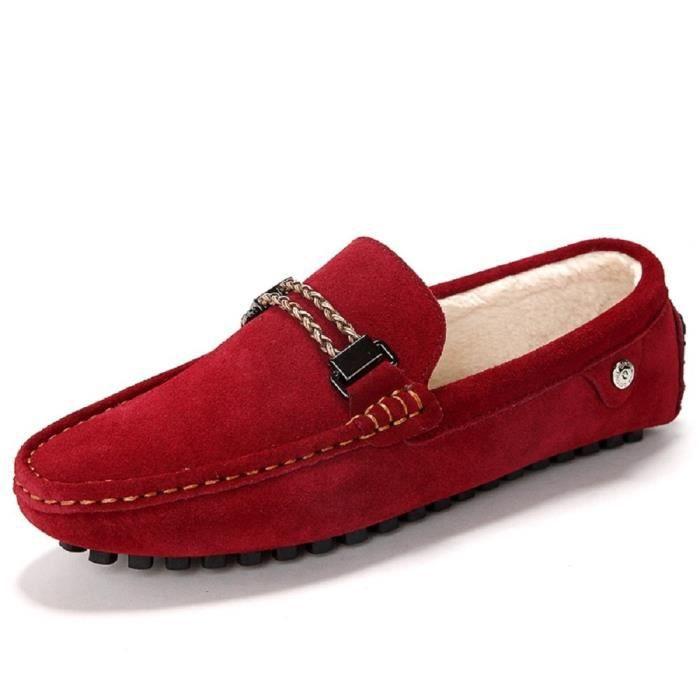 Suede en fausse fourrure Pantoufles Glissement Mocassins Mocassins Chaussures plates PI6MK Taille-38 1-2 kQ7IBKM