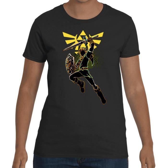 0fbc72e0bb0 T-shirt Femme Zelda - Link Artwork Noir Noir - Achat   Vente t-shirt ...