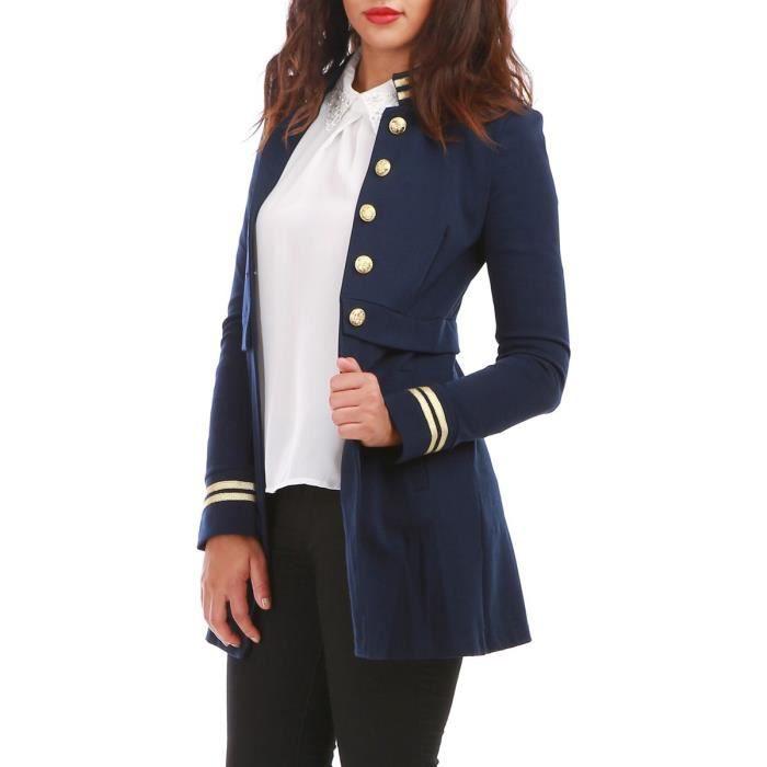 b174f4f4162585 Veste officier bleue longue et détails dorés-S Bleu Bleu - Achat ...