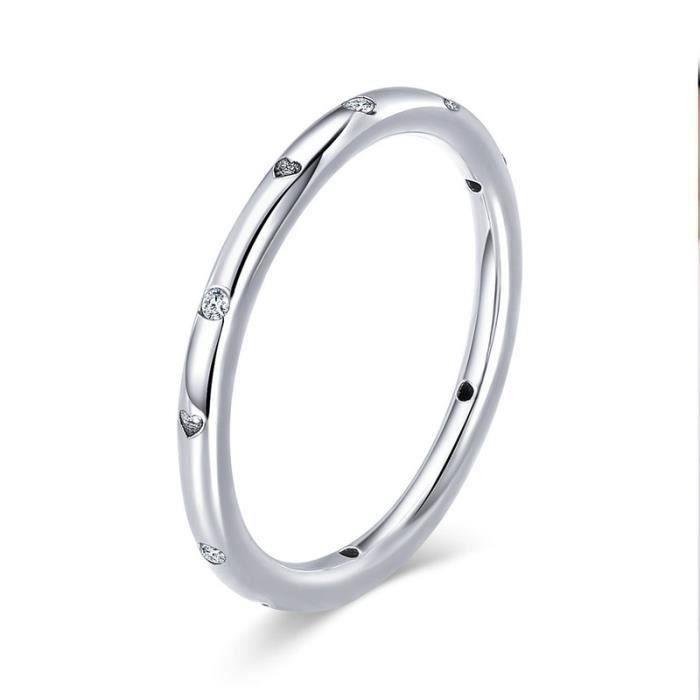 51ec9c5776d Simple élégant Bague Femme Argent 925 sterling elements bijoux femme  cadeaux pour anniversaire BAMOE