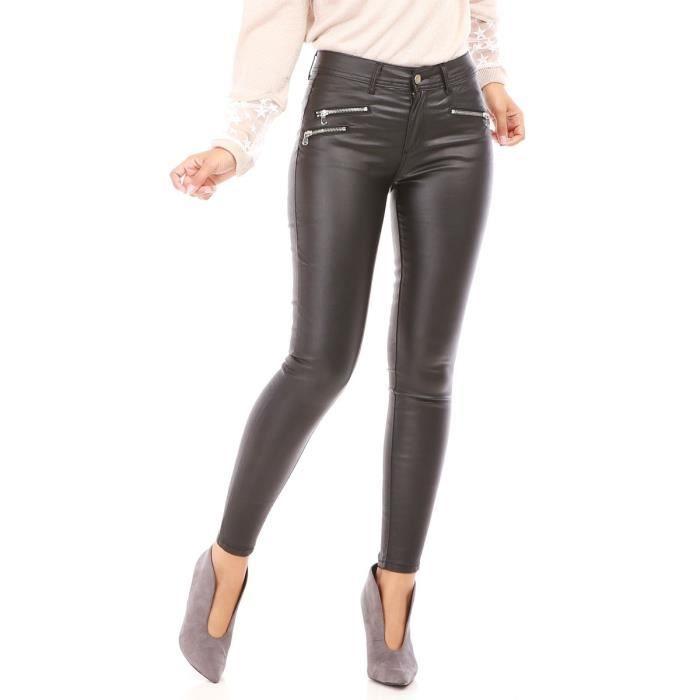 Pantalon enduit noir et fermetures zippées fantaisies Noir Noir ... 99fd5db11638