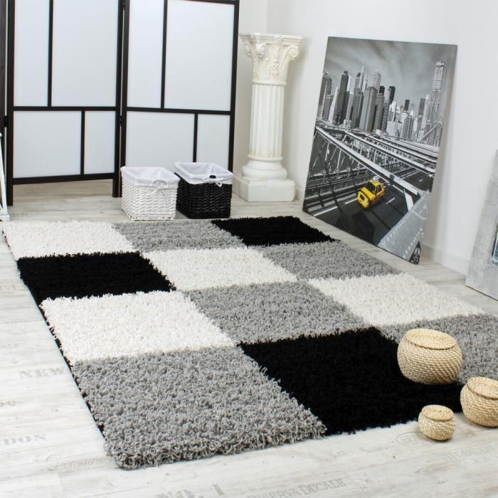 Shaggy Carreaux Gris Noir Blanc 300x400 Cm Achat Vente Tapis