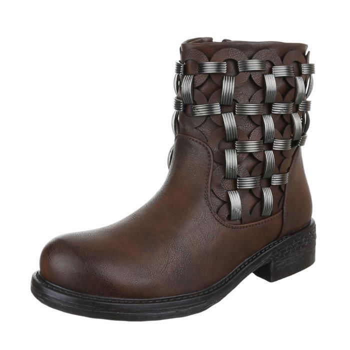 femme bottine chaussure arbre court Ouvrier botte marron