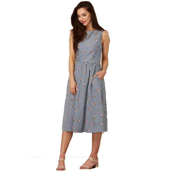 Sugarhill Boutique Stripe femmes et imprimé cœur Beatrice Dress Sundress 2ZIXVK Taille-34