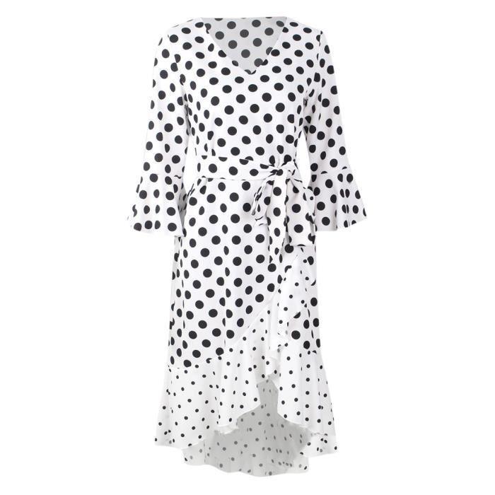 Cloche Points Manches Ceinture blanc Du Mi Vintage Robe Imprimer Femmes Cou Avec V longue Parti BRSwtqa
