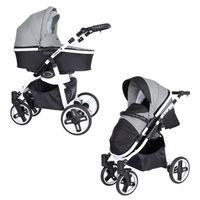 Poussette bébé Combinée Trio LIBERO WHITE 3 en 1 - nacelle,siège-auto,accessoires Noir Et Pied De Poule