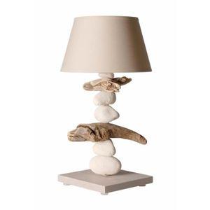 LAMPE A POSER Lampe de chevet bord de mer en bois et galets - Pe