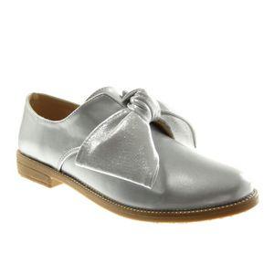 Angkorly - Chaussure Mode Derbies bi-matière femme verni perforée Talon haut bloc 7.5 CM - Bordeaux - L2655 T 41 CjZTnz