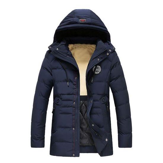 Hiver Veste À Homme Toison Zippé Chaud Solide Foncé Capuche Pour Manteau Bleu Épais Coton En Rembourré vvrc5axqwA