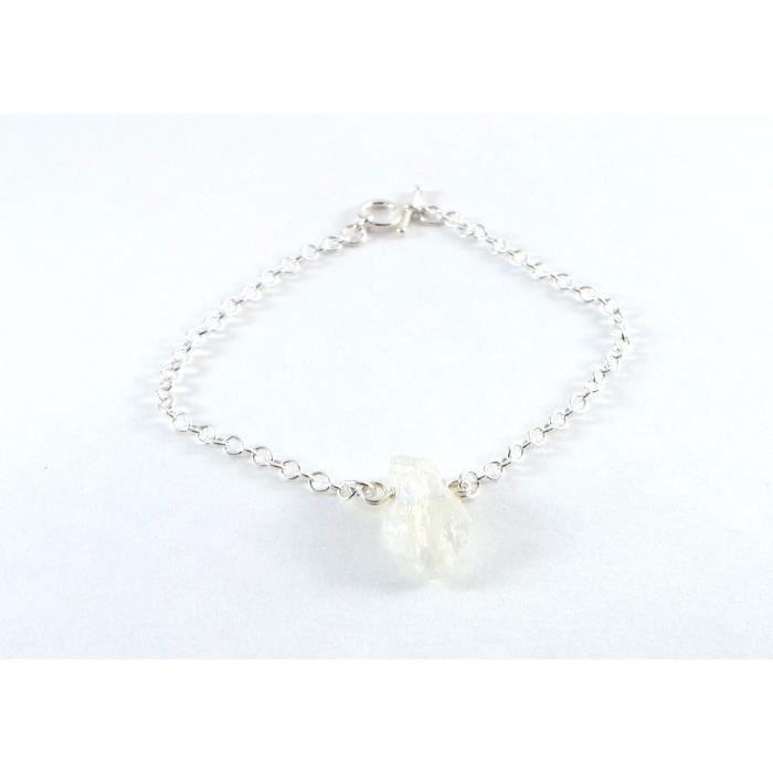 Femmes Quartz Raw Simple Bracelet en argent sterling (milieu) TAIV5