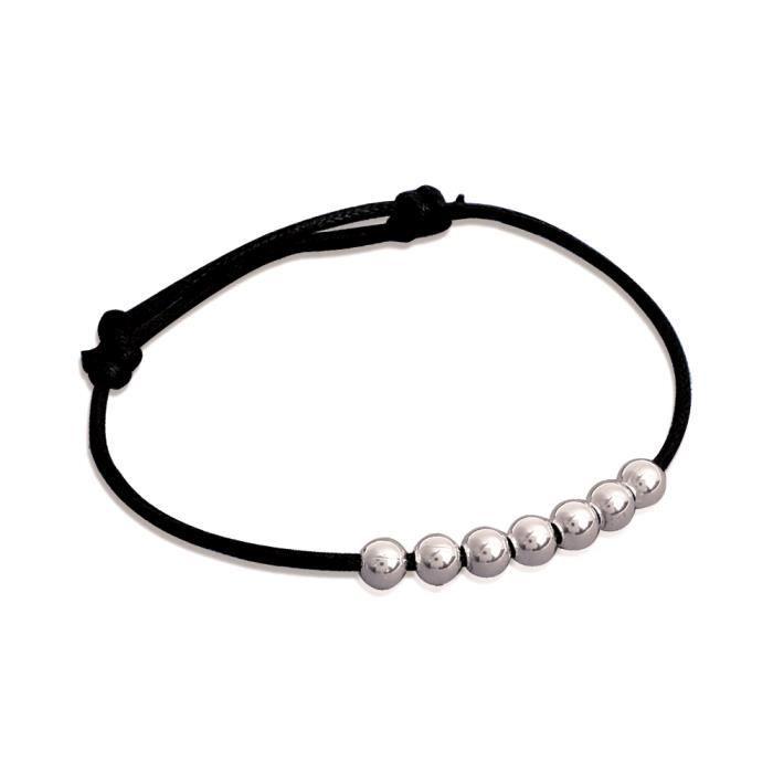 Bracelet Cordon Noir Ajustable - Boules 4mm Argent 925
