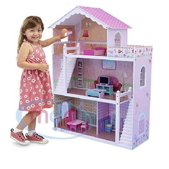 maison barbie en bois achat vente jeux et jouets pas chers. Black Bedroom Furniture Sets. Home Design Ideas
