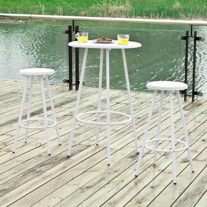 Set de 1 table bar bistrot ronde et 2 tabourets avec repose-pieds ...